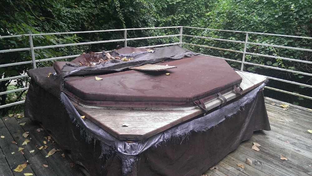 Deck - Full hot tub which has not been used and needs a new winter cover