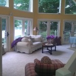 LR - big prow front with windows in living room which is open and nice