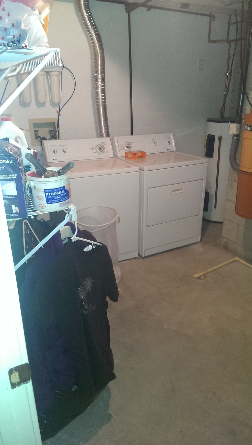 basement- washer and dryer in furnace room area